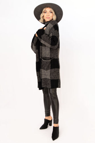 Show Low Checkered Cardigan Sweater - Multi Black