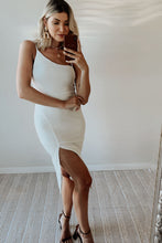 Stand Out Asymmetrical Neckline Midi Dress w Front Slit  - Off White