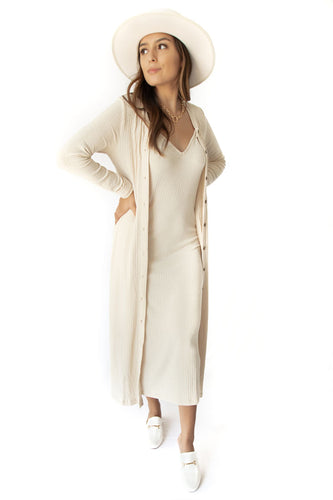 Faye Ribbed Knit Deep-V Cami Maxi Dress + Cardigan Set - Natural