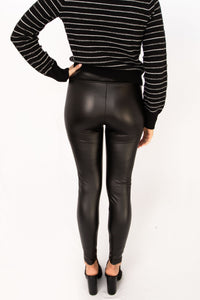 Mila Faux Leather High Waist Skinny Leggings - Black