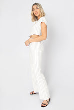 Total Package Striped Linen Crop Top + Pants Set - Grey + White