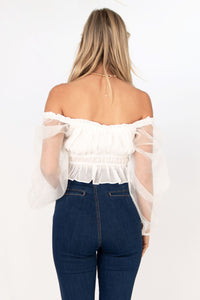 Powder Sheer Sleeve Cropped Blouse - Off White