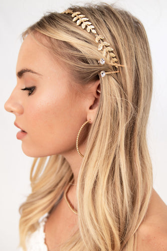 Acacia Metal Leaf Headband - Gold