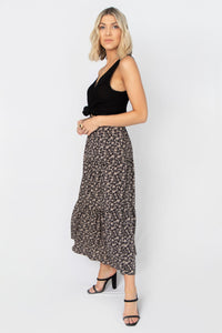 Flower Power Three Layered Floral Printed Midi Skirt - Black