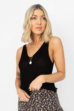 Damsel V-Neck Knit Tank Top - Black