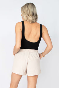 Daybreak High Waist Shorts w Elastic Waist + Slit Pockets - Oatmeal