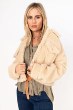 Evergreen Button Front Fur Jacket - Ecru