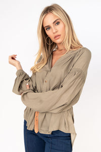 Cosmo Collarless Button Up Long Sleeve Hi Lo Blouse - Light Moss