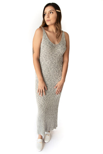 Florence Sleeveless Ribbed Heathered Knit Maxi Dress - Heather Grey