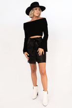 Shiver Foldover Off Shoulder Cropped Sweater - Black