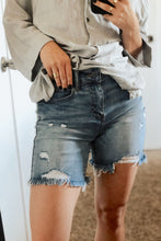 Misfit High Waist Distressed 5 Pocket Jean Long Shorts - Light Denim