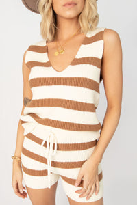 Sunkissed Striped Knit High Waisted Short Lounge Set - Camel + Ivory