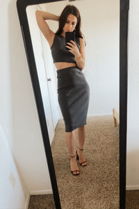 Rendezvous Ribbed Knit Bodycon Pencil Skirt and Crop Top Set - Grey