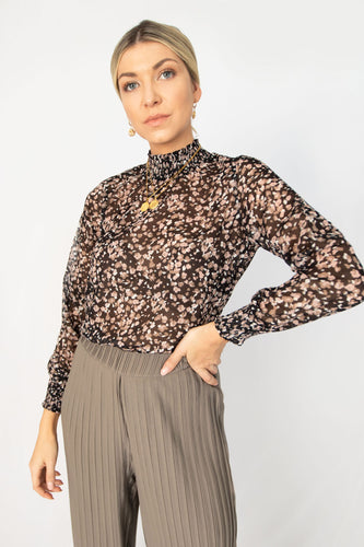 Garden Party Floral Printed Mock Neck Top - Black Mix