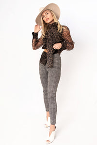 London Plaid High Waisted Pants - Black