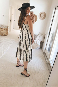 Daydreamer Striped Square Neck Wide Strap Tiered Knit Midi Dress - Off White