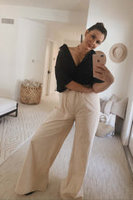 Morrison High Waist Wide Leg Paper Bag Pants - Ivory
