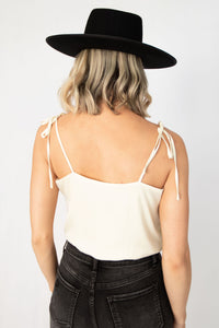 Sunrise Self-Tie Strap Cami Bodysuit - Cream