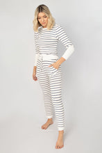 Live In Striped Crew Neck Top + Drawstring Pant Lounge Set - White + Black