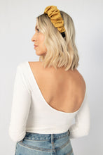 Dreamy Silk-Feel Scrunchie Headband - Mustard