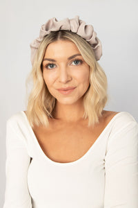 Dreamy Silk-Feel Scrunchie Headband - Beige