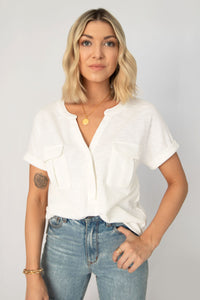 Sage Ribbed Knit Kimono-Sleeve Pocket Top - Off White