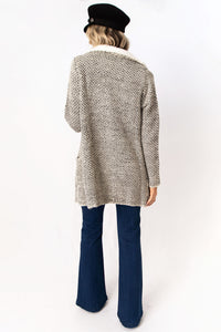 Snowed In Shearling Crochet Knit Wide Lapel Coat - Cream + Black