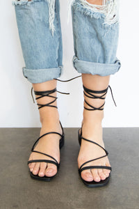 Globetrotter Strappy Lace Up Square Toe Low Heel Sandal  - Black
