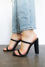 Oaklynn Dual Strap High Heeled Mule Sandal  - Black