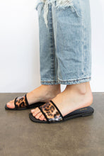 Ellis Animal Print Flat Sandal  - Black