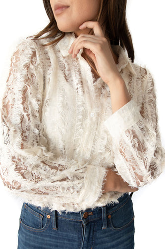 Gwendolyn Sheer Fuzzy Lace Button Down Top - Ivory