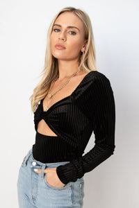 Under the Mistletoe Twisted Cutout Velvet Bodysuit - Black