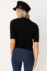 Solstice Solid Soft Knit Half Sleeve Top - Black