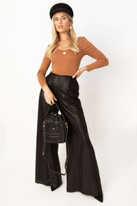 Amsterdam High Waisted Wide Leg Pants - Black