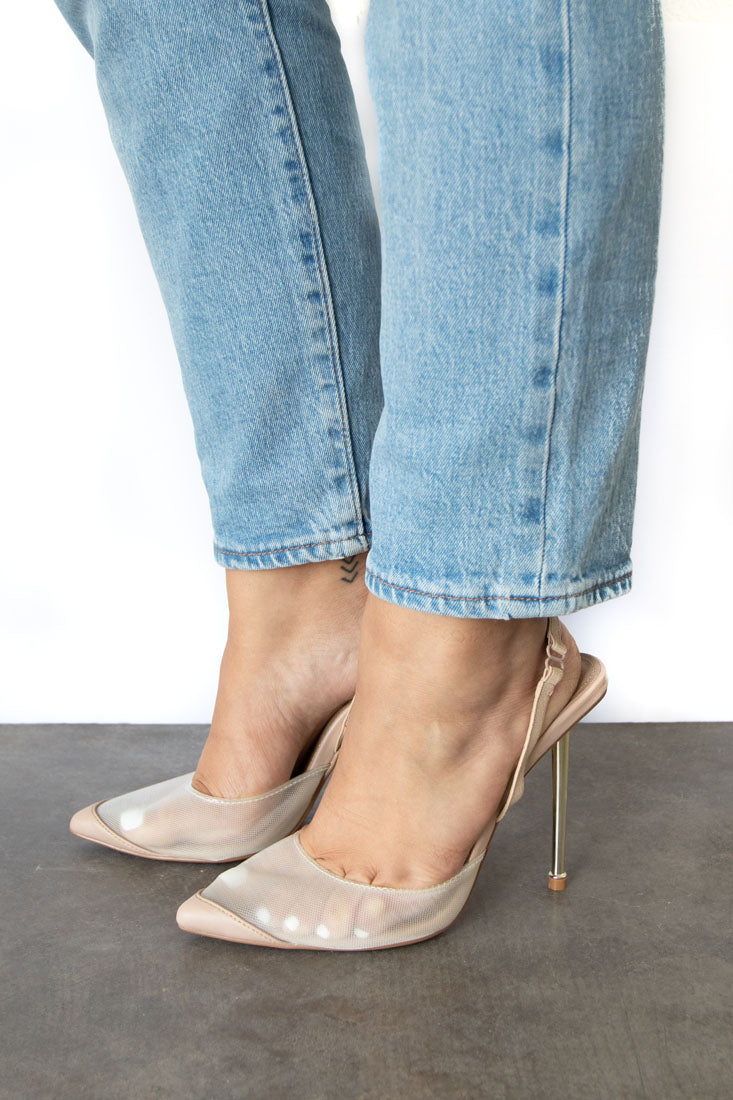 Bestie Sling Back Pointy Toe Mesh Pump - Nude
