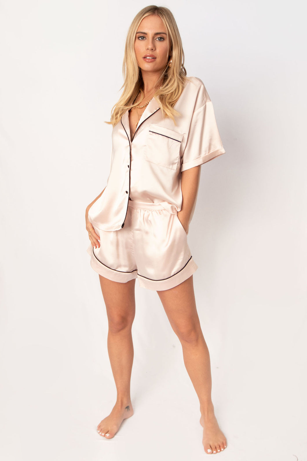 Pillow Talk Satin Collared Contrast Piping Pajama Set - Champagne