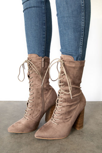 Eloise Pointed Toe Lace Up Mid Calf Boot - Taupe