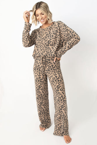 All Nighter Animal Tunic Top + Pant Lounge Set - Camel