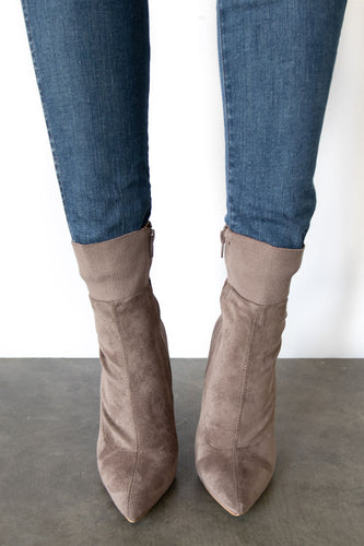 Jersey Suede Pointy Toe Ankle Bootie - Taupe
