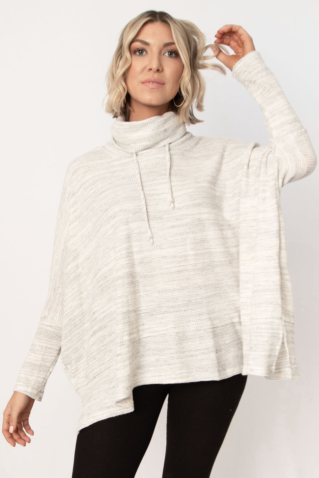 Telluride Brushed Marbled Knit Drawstring Neck Top - Heather Grey