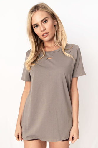 Anything But Basic Solid Distressed Half Sleeve Cotton Top - Heather Grey