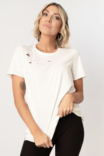 Anything But Basic Solid Distressed Half Sleeve Cotton Top - White