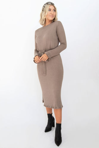Beckham Ribbed Sweater Dress - Dusty Mocha