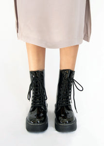 Alter Ego Patent Lace Up Combat Boot - Black