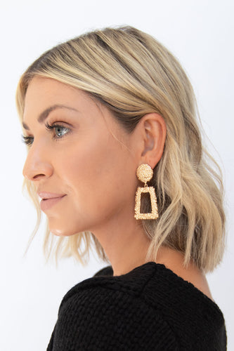 Leandra Gold Casting Studded Disc + Rectangle Earrings