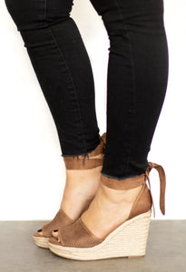Cabo Wedge Rope Platform Sandal w Faux Leather Upper + Wrap Ankle Tie - Natural