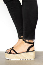 Black Rope Bottom Platform Ankle Strap Sandal