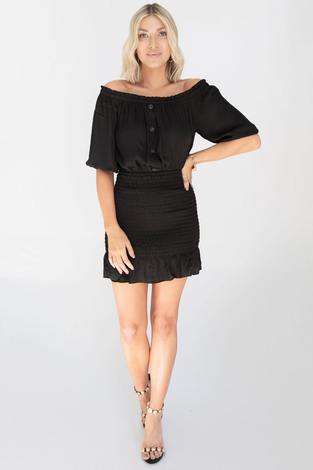 French Kiss Off Shoulder Smocked Skirt Dress - Black