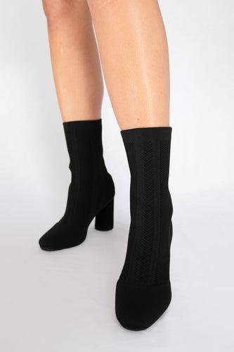 Calfie Knit Sock Ankle Bootie - Black - ONLINE EXCLUSIVE