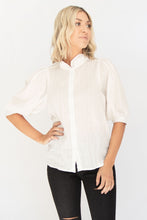 Annaliese High Ruffled Neckline w 3/4 Gathered Sleeve Blouse - Off White